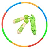 ZUINIUBI Hula Hoop for Kids Detachable Snap Together Hoop Size Adjustable Design 8 Sections 27.6inch with Cartoon Jumping Rope for Fitness