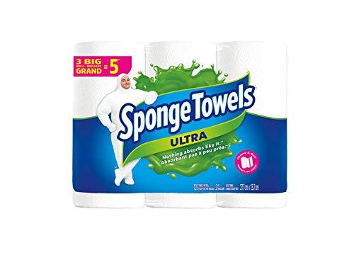 SpongeTowels Ultra Paper Towels, Choose-A-Size Big Roll, 2-Ply, 120 Sheets per Roll - 3 Big Rolls (Equal to 5 Regular Rolls)