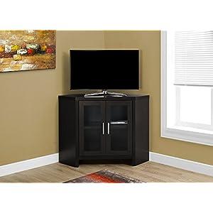 """Monarch Specialties Cappuccino Corner with Glass Doors TV Stand, 42"""""""