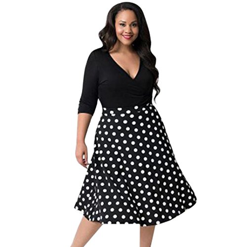 Plus Size Dresses, Gillberry Women's Boho Dot Print V Neck 3/4 Sleeve Long Maxi Dress Sundress (Black, L) ()