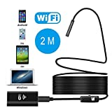 WiFi Endoscope,USB Borescope Loupe Wireless Borescope Ear Scope Snake Inspection Camera 2.0MP HD IP67 Waterproof for Android iPhone iOS Windows-2M Hard Cable