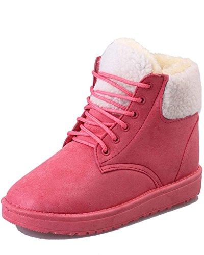 Zapatos Botas Térmico Minetom Mujer Plano Botas Forro Cordones Felpa Invierno Rosa Botas Algodón Martin Talón Apa8ZY