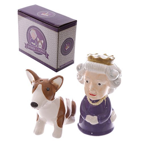 (Salt & Pepper Condiment Set/pots Queen & Corgi By Puckator)