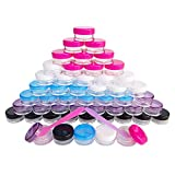 50x 5 Gram 5g Empty Plastic Cosmetic Sample Container for Makeup Eyeshadow Nails Powder Gems Beads Jewelry Paint Cream, Small 5ml Clear Round Pot Jars with Multi-color Lid, Free 50x Dispense Spatulas