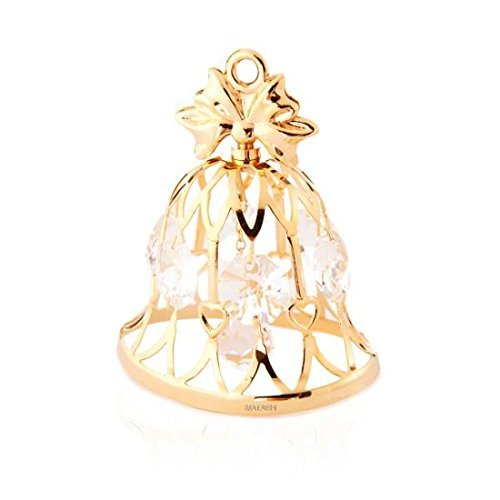 24k Gold Plated Wedding Bell Ornament Made with Genuine M...