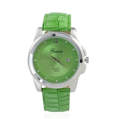al Miyota Japanese Movement Watch with Green Band and Stainless Steel Back (Womens Austrian Crystal Watch)