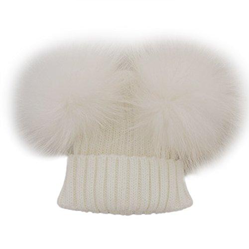 MIOIM Baby Boys Girls Winter Beanie Wool Knit Hat Raccoon Fur Double Big Ball Pompom Bobble Ski Cap