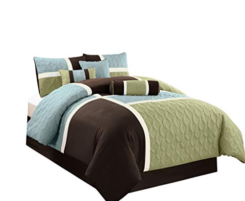 (Chezmoi Collection 7-Piece Coffee Quilted Patchwork Comforter Set, Queen, Aqua Blue Sage)