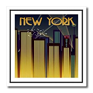 ht_60474_1 Florene Art Deco and Nouveau - Art Deco New York Poster - Iron on Heat Transfers - 8x8 Iron on Heat Transfer for White Material