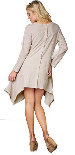 Bodycon4u Casual Draps En Coton À Manches Longues Lâche Vintage Femmes Robe Chemise Irrégulière Taille Plus S-4xl Café