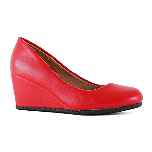 Womens Classic Office Comfortable Soft Wedge - Mid Low Heel Round Toe Dress Pumps (6.5 M US, Red Pu)
