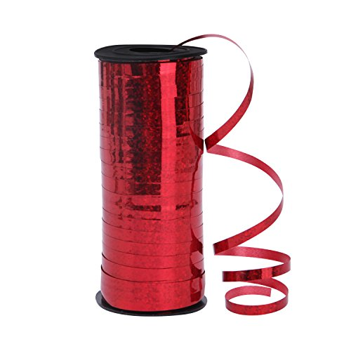 Senkary 5mm Width Crimped Curling Ribbon Roll Metallic Balloon Ribbon String Craft Ribbon for Party Festival Gift Wrapping Florist, 100 Yards (Red)
