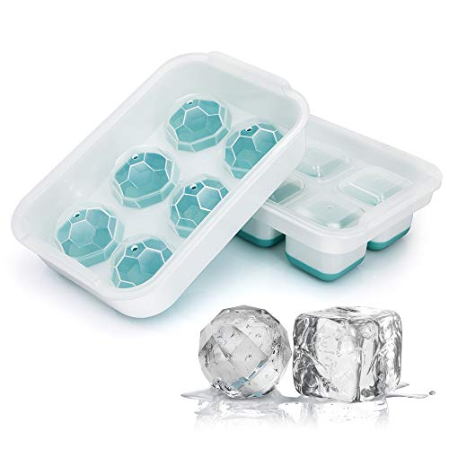 Aibrisk Ice Cube Trays Large Size Ice Maker for Whiskey and Cocktails,2 Pack Flexible Silicone Ice Cube Trays with Removable Lids,BPA Free and Stackable Dishwasher Safe