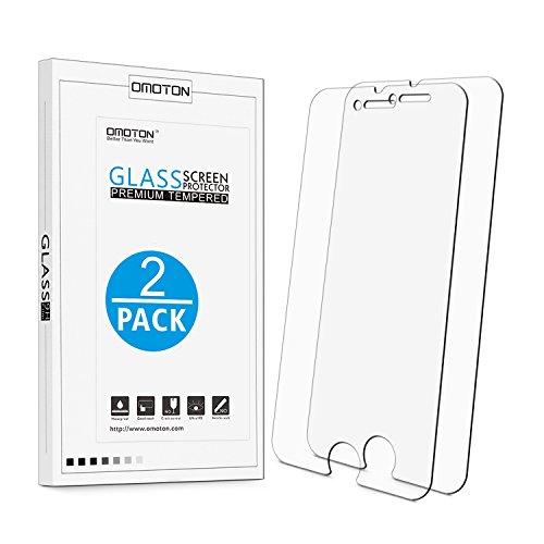 [2 Stück] OMOTON Panzerglas Displayschutzfolie für iPhone 7 Plus, 9H Härte, Anti-Kratzen, Anti-Öl, Anti-Bläschen, lebenslange Garantie