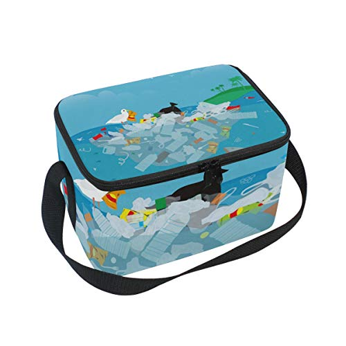 Premium Lunch Bag/Ice bag with Shoulder Strap Bird Seagull Stands On Pile Garbage | Lunch Box for Adults, Kids | Soft Leak Proof Liner |Lunch Cooler for Office, School