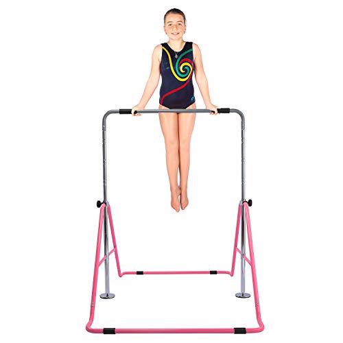 Safly Fun Gymnastics Bars Expandable Childrens Training Monkey Folding Bars Climbing Tower Child Play Training Gym (Pink)