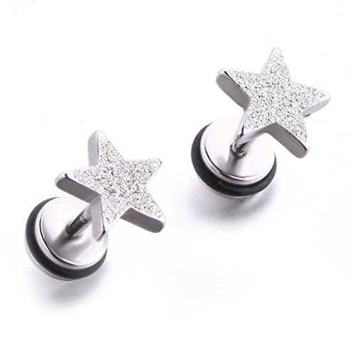 Stainless Steel 16G Stud Earrings Star Shape Earring Piercing for Women Men With Screw Back. (1 pair matte 9mm)