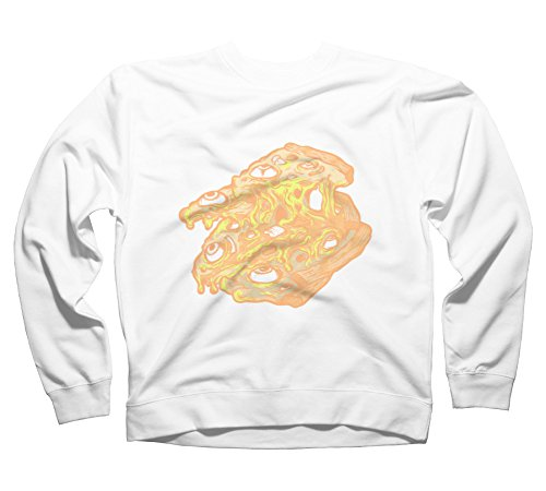 Zombie Pizza Men's Small White Graphic Crew Sweatshirt - Design By Humans (Zombie Pizza)