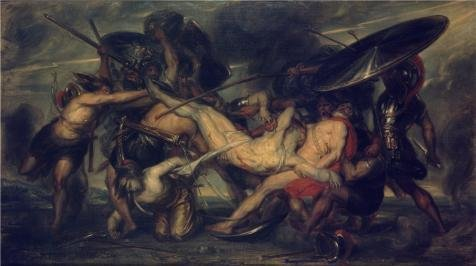 [Oil Painting 'Battle Of The Greeks And Trojans For The Corpse Of Patroclus By Antoine Joseph Wiertz' 16 x 29 inch / 41 x 73 cm , on High Definition HD canvas prints, Garage, Home Office And La] (Mounted Animal Head Costume)