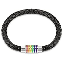 "Black Braided Leather Bracelet with ""Gay Pride"" Magnetic Rainbow Striped Closure 8"" inches"