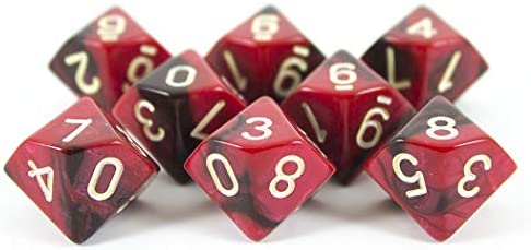 8 D10 Set Blood God Paladin Roleplaying Red and Brown Dice