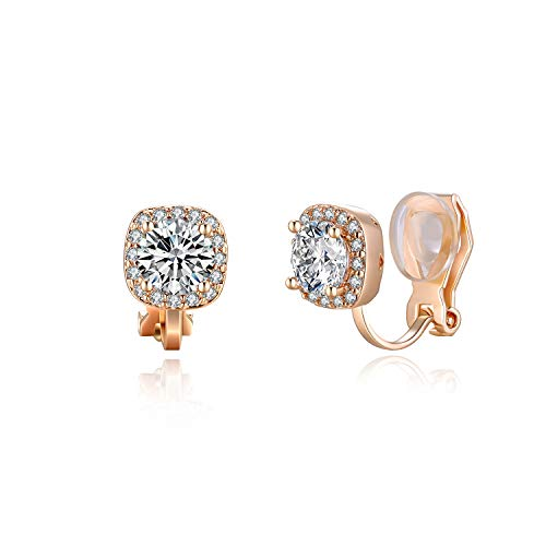 (FANCIME Rose Gold Plated Cubic Zirconia CZ Simulated Diamond Small Halo Stud Clip On Earrings for Women Girls, Hypoallergenic Fashion Jewelry with Gift Box for Mother's Day, Diameter:8 mm)