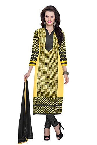 Vibes Womens Cotton Patch Work Straight Dress Material (V268-33 _Yellow _Free Size)