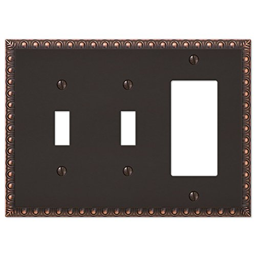 2 Toggle 1 Rocker Combination Egg & Dart Switch Plate Outlet Cover Wall Plate - Oil Rubbed Bronze
