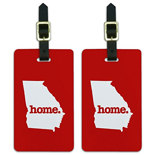 Georgia GA Home State Luggage Suitcase ID Tags Set of 2 - Solid Red
