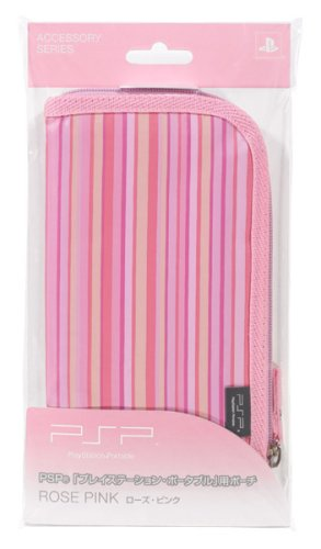 Sony PSP Portable Soft Zipper Pouch Bag - Rose Pink - Sony PSP;