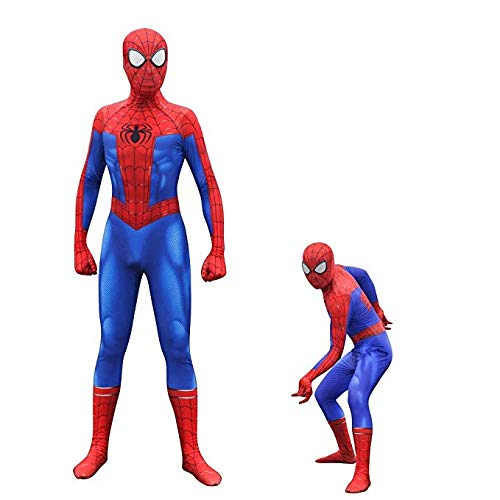 Spider-Man Into The Spider-Verse Costume Peter Parker Bodysuit Cosplay (Kid M) Blue -