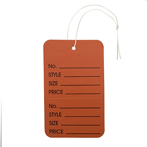 NAHANCO Large Orange Coupon Tag, Strung Vertical Perforated Merchandise Tag (Pack of ()