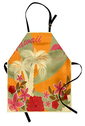 Lunarable Hawaiian Apron, Aloha Vintage Print Colorful Swirl Backdrop Dolphins Palm Trees Flowers, Unisex Kitchen Bib Apron with Adjustable Neck for Cooking Baking Gardening, Green Marigold ()