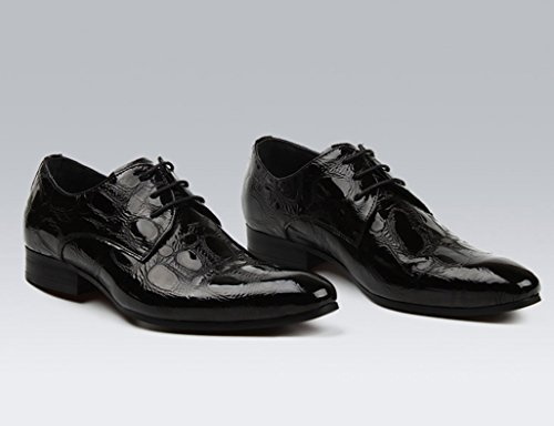 Herren Lederschuhe Herren Lederschuhe wies Business Formelle Kleidung Hochzeit Bright einzelne Schuhe Herrenschuhe ( Farbe : Red-brown , größe : EU39/UK6 ) Schwarz
