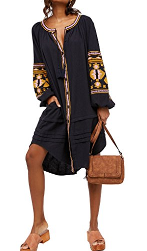 R.Vivimos Womens Autumn Long Sleeve Embroidery Oversized Single Breasted Button Up Dresses with Pockets (Large,Black)