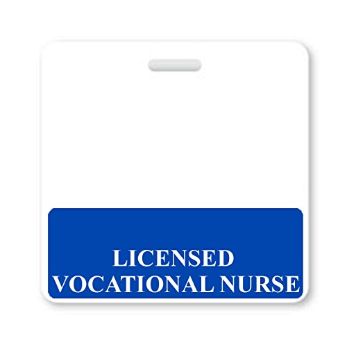"""""""LICENSED VOCATIONAL NURSE"""" Horizontal Nurse ID Badge Buddy with Blue Border by Specialist ID, Sold Individually"""