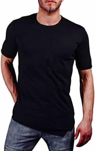 80a42bfbfa3 Pandaie Mens Blouse Shirts Men s Sling Slim Pure Color Splice Casual Fashion  Lapel Short Sleeve Shirt