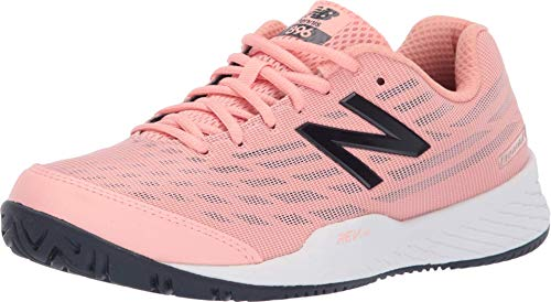 New Balance Women's 896v2 Hard Court Tennis Shoe, White Peach/Pigment, 7.5 B US