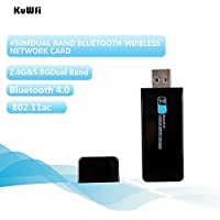 KuWFi 11AC 450Mbps Dual Band Wireless Network USB Adapter +Bluetooth 4.0 Receiver Wireless Usb Network Card bluetooth Wifi Dongle 2 in 1 Function Dual band Bluetooth wifi adapter receiver