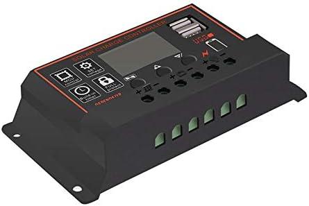 Libertroy 10/20/30/40/50 / 60A Amp 12V / 24V Controlador de Carga del Panel Solar Regulador de batería Dual USB - Negro