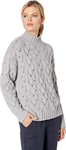Vince Camuto Womens Long Sleeve Texture Stitch Mock Neck Sweater Light Heather Grey SM ()