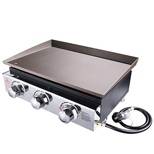 OT QOMOTOP 23-inch Tabletop Gas Grill, Outdoor Griddle with 355 Square Inches Cooking Area, 3-Burners – Stainless Steel Front Plate – Front Grease Trap, Flat Top Grill for Camping, Picnicking, Board