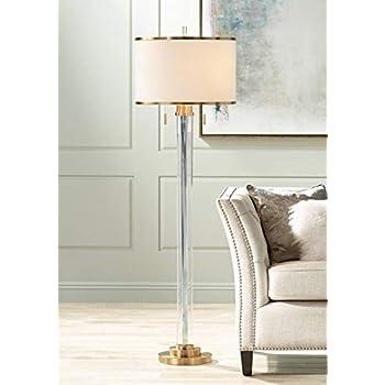 Cadence Modern Floor Lamp Satin Brass Crystal Glass Column