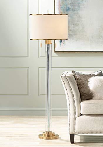 - Cadence Modern Floor Lamp Satin Brass Crystal Glass Column Linen Drum Shade for Living Room Reading Bedroom Office