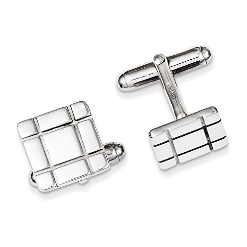 Sterling Silver Rhodium-plated Grooved Design Cuff Links