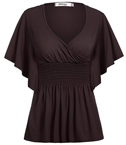 Meaneor Women's Dolman Tunic Top Crew Neck Long Shirt - Many Colors Dark Brown (Smocked Waist Tunic)