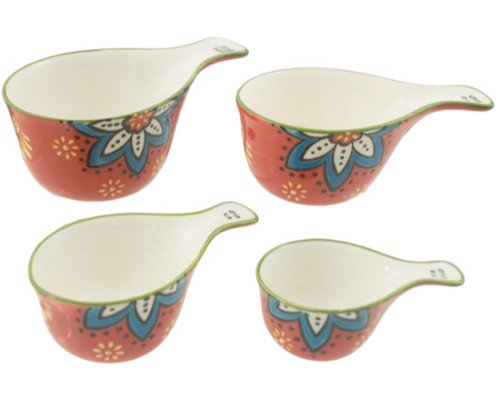 Kitchen Essentials Hand Painted Bright Floral Ceramic Measuring Cups Dishwasher Safe (Red) ()