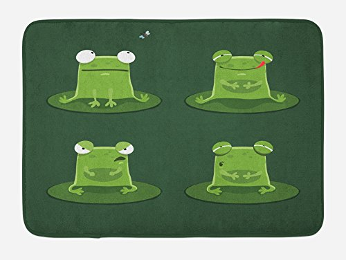 Ambesonne Funny Bath Mat, Funny Muzzy Frog on Lily Pad in Pond Hunting Tasty Fly Expressions Cartoon Animal, Plush Bathroom Decor Mat with Non Slip Backing, 29.5' X 17.5', Hunter Green