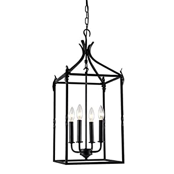 Beatriz 4-Light Black Classic Iron Hanging Lantern Chandelier