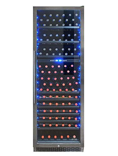168 Bottle Wine - Vinotemp EL-168WCGM 168-Bottle Dual-Zone Wine Cooler, Stainless Steel